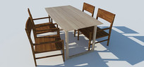 SU草图大师桌椅组合模型