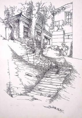 林间小石子路钢笔画