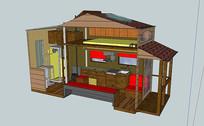 70平米的小木屋房子SU模型