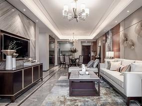 现代新中式客厅 JPG
