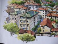 红绿屋顶住宅手绘