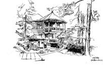 别墅房子写生