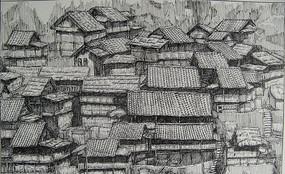 古代群建筑屋顶素描 JPG