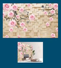 玫瑰花倒影软包背景墙图片