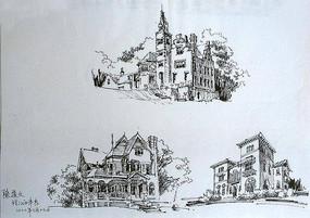 欧式城堡建筑钢笔画 JPG