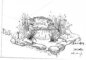 岩石小瀑布速写