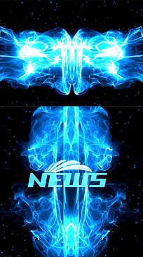 蓝色粒子碰撞标题文字展示AE视频模板