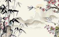 水墨竹子花鸟电视背景墙