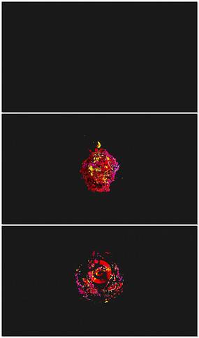 缤纷液体水彩logo开场视频模板