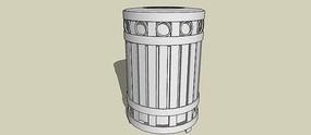 圆形图案垃圾桶SU模型