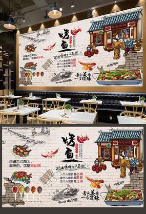 中华美食手绘美食烤鱼背景墙