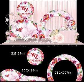 粉色花卉婚礼背景设计