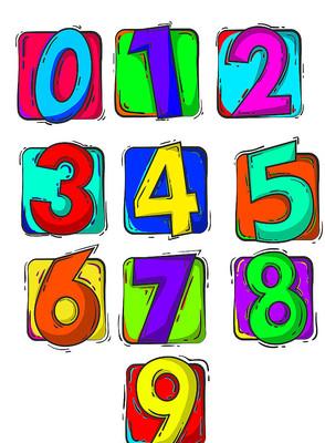 原创元素手绘数字