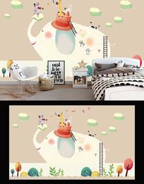 卡通儿童大象动物背景墙