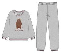 绒睡衣家居服款式设计矢量图