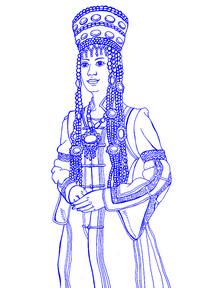 手绘线描蒙古族女插画
