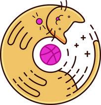圆形卡通小猫