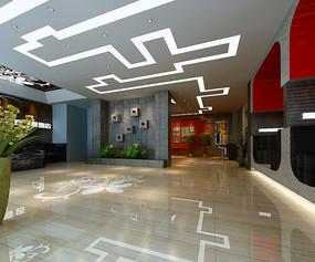 工装快捷酒店大厅3D模型