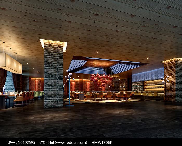古典中式餐厅大厅3D图片