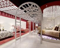 家居床销售店3D模型