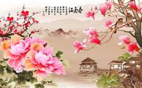 江南春玉兰牡丹山水电视背景墙