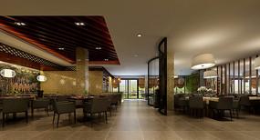 简约餐厅大厅3D模型