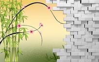 绿色竹子砖墙3D背景墙