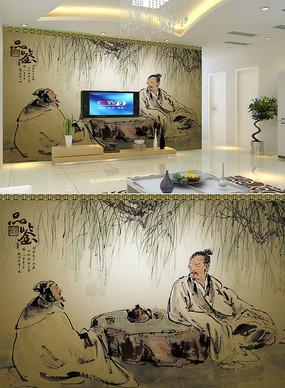 中式电视背景墙PSD分层素材