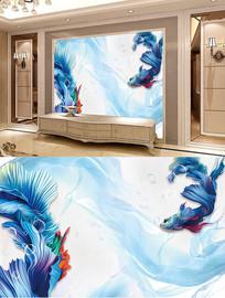 抽象蓝孔雀鱼背景墙