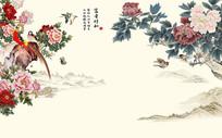 富贵祥和牡丹花鸟电视背景墙