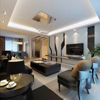古典室内客厅皮质沙发3D