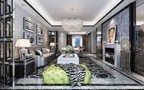 黑白大理石室内客厅3D