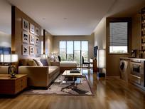 简约木头元素室内客厅3D