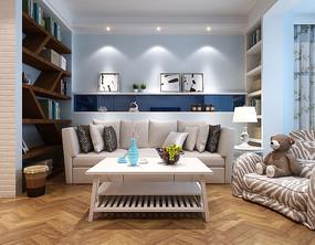 简约小清新家装客厅3D