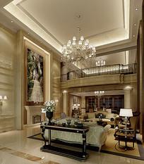 金色奢华家装客厅3D模型