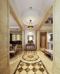 金色元素室内客厅3D模型
