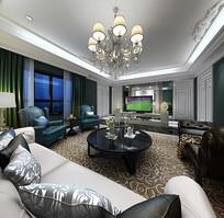 绿色现代元素家装客厅3D