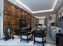 木头电视墙室内客厅3D