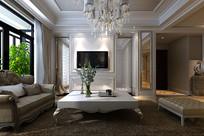 欧式风家装客厅3D