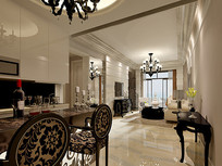 欧式简约室内客厅餐厅3D
