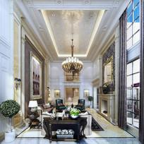 欧式奢华室内客厅3D模型