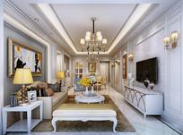 欧式现代客厅3D模型