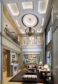 欧式跃层室内客厅3D模型