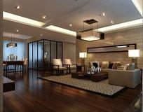 日式古典家装客厅3D
