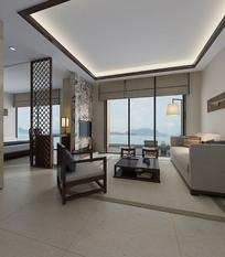 日式简约家装室内客厅3D