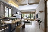 日式简约木头客厅3D