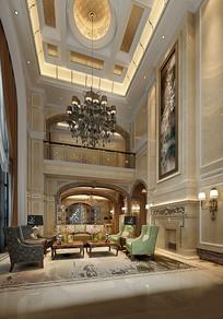 奢华欧式金色室内客厅3D