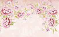 时尚浪漫田园手绘花朵背景墙