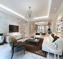 现代白色简约家装客厅3D