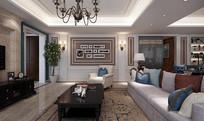 现代简约家装客厅3D